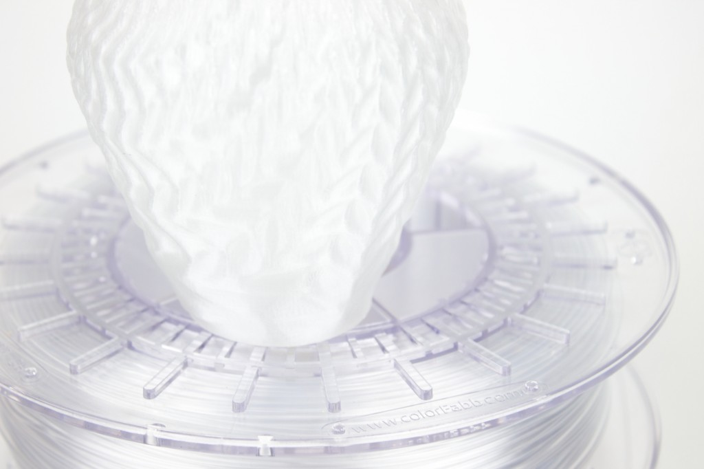 close-up on the spool and 3d print.